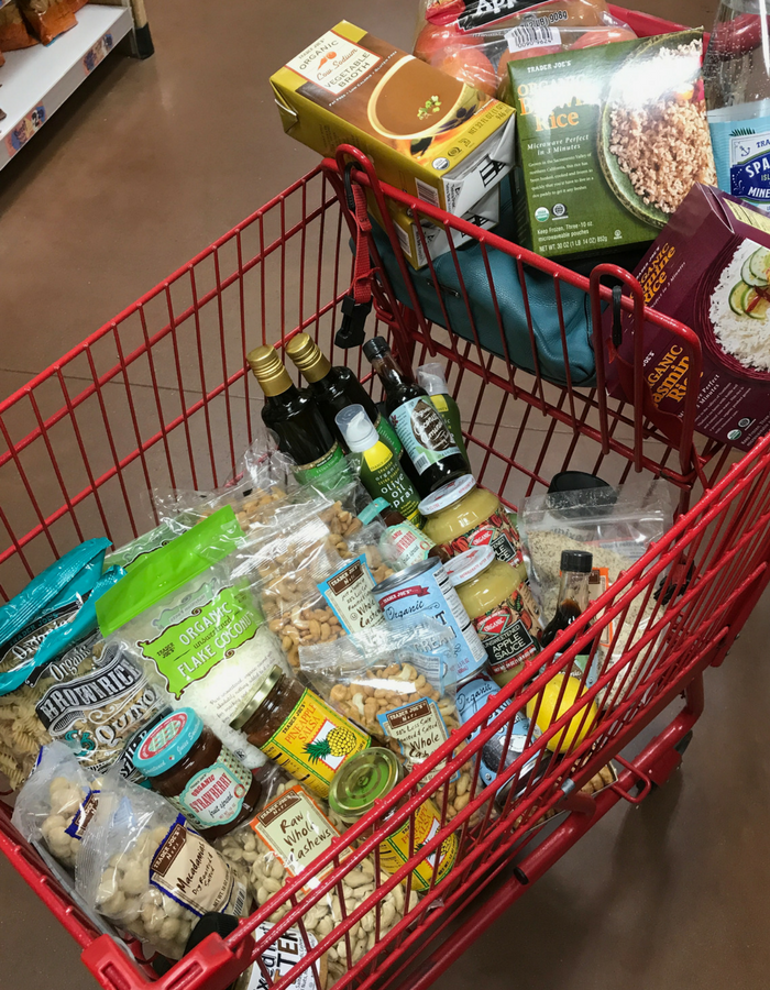 Shopping Cart Filled With Items From Healthy Grocery List